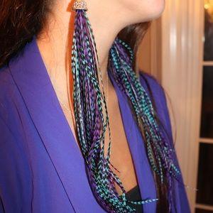 Blue and aqua feather earrings